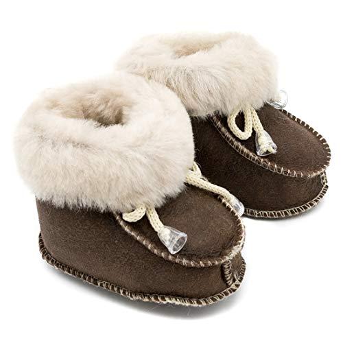 ABSoft - Stivali da Neonato, Unisex, Caldi, Invernali, in Pelle, Modello 02, Beige (Antica), L (12-18 Monate)