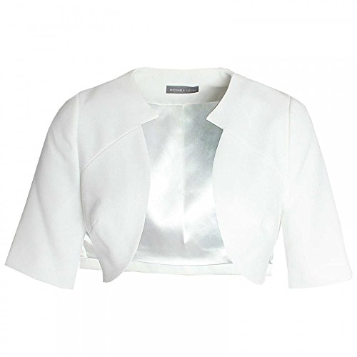 Michaela Louisa Short Sleeve Tailored Bolero 20 White