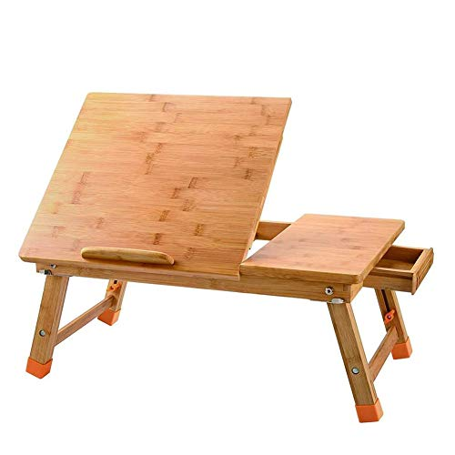 Multifunctionele Laptop Tray, 100% bamboe Verstelbare/Opvouwbare, Ontbijt Service Bed Tray, met Tilted bovenste lade, nachtkastje