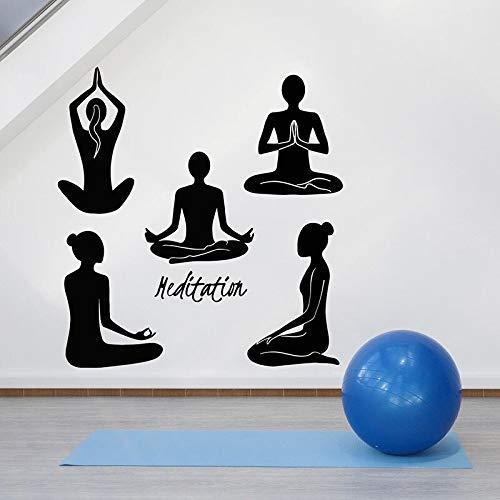 Meditación Pose calcomanía pared relajación Yoga chica Pose puerta ventana vinilo pegatina gimnasio Yoga Interior Art Deco