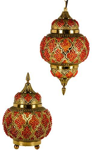 Set van 2 Oosterse messing hanglampen & tafellamp lamp lamp Alyah in goud E27 lampfitting | Marokkaans design kleine hanglamp bedlampje lamp kleine lampenkap goudkleurig