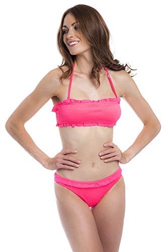 SOL Y PLAYA -Set de Bikini Halter Braguita Cintura Ancha Adorno Volantes pequeños Modernos para Mujer Chica Adolescente (32 - XXXS, Rosa Fuerte)