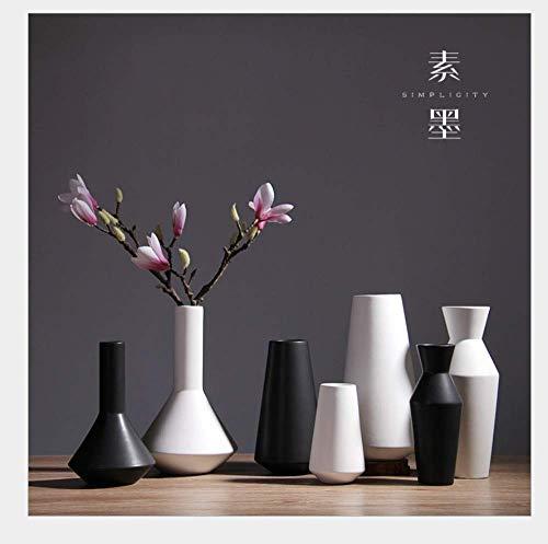 HUAQINEI Decoración del hogar de la Sala de Estar Minimalista Moderna de Estilo japonés Americano Decoración Creativa de jarrón de cerámica en Blanco y Negro