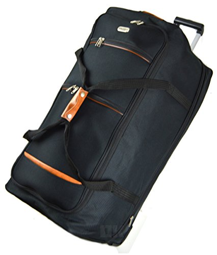 Extra Large Unisex Expandable Wheeled Holdall by Starlite Luggage 3 Wheels with Tan Trimming Black