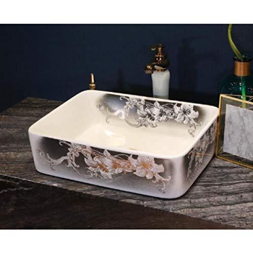 YYZD Lavabo de cerámica Rectangular estilo hecho a mano encimera de porcelana lavabo de baño lavabo de tocador lavabo profundo lavabo-B. Solo hundirse