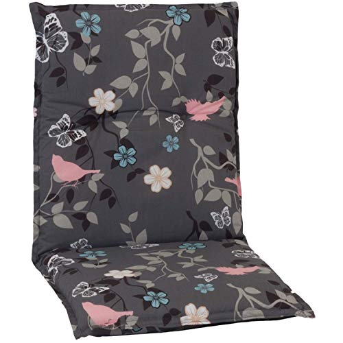 Beo Niedriglehner Auflagen UV-beständig Barcelona | Made in EU nach Öko-Tex Standard | Waschbare Stuhlauflage Niedriglehner | Atmungsaktive Auflagen Niedriglehner mit Blumen- & Vogel-Muster in Grau