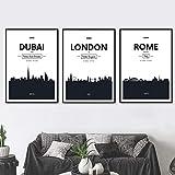 WADPJ Dubai Roma Londres Blanco Negro Ciudad Arte de la Pared Pintura de la Lona Carteles nórdicos Impresiones Imágenes Sala de Estar Decoración del hogar-50x70cmx3 Piezas sin Marco
