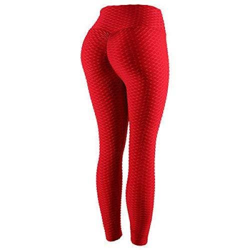 MQQM Running Fitness Estiramiento Yoga Legging,Pantalones de Yoga de Cintura Alta Que levantan la Cadera, Leggings absorbentes de Sudor de Secado rápido-Rojo_XXL,Yoga Running Training Leggings