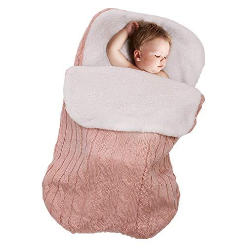 Gkmamrg slaapzakken baby winterroze, pasgeborenen baby gebreide wikkeling swaddle deken kinderwagen slaapzak voor 0-12 maanden baby
