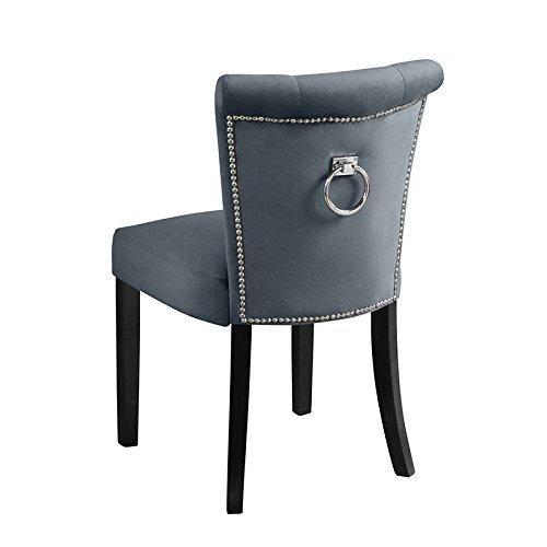 My-Furniture – Positano - Silla de Comedor tapizada de Alta Calidad, de Color Gris Humo, con Botones y argolla en la Parte Posterior del Respaldo
