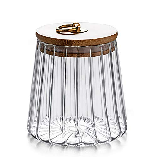Glass Coffee Nuts Canister Airtight Storage Jar Petal Decorative Container with Bamboo Lid Metal Handle Easy to Grasp 700ml (23oz)