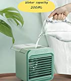 2020 Rechargeable Water-Cooled Small Air Conditioner, Portable Ultra-Quiet mini air conditioner Fan,Cooling Fan for Home with evaporative Air Cooler with 3 Wind Speeds, mini fan for desk of officeh 3 Wind Speeds