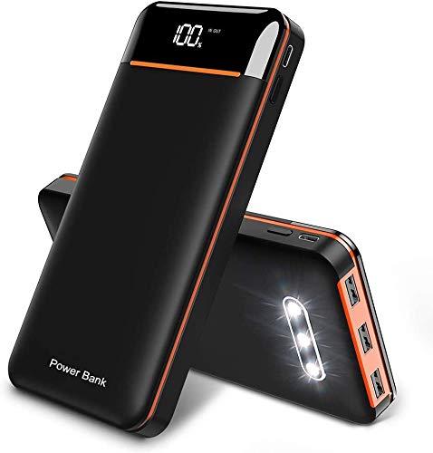 KEDRON Power Bank 25000mAh tragbares Ladegerät, externer Akku mit DREI USB-Ausgängen, Zwei Eingängen (Micro & Typ C) und DREI LED-Leuchten, kompatibel mit Allen Smartphones (Schwarz & Orange)