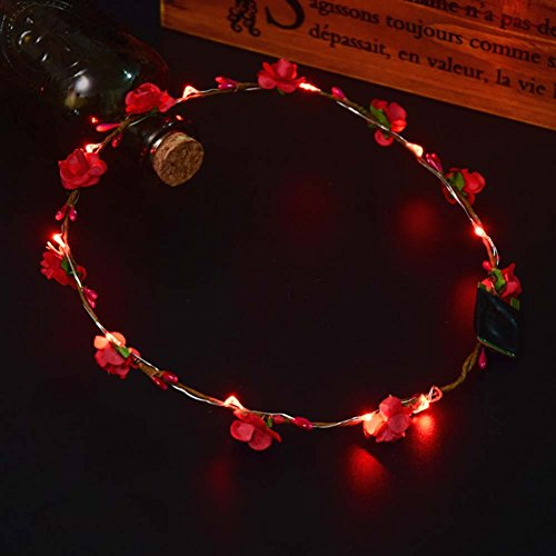 Guirnalda de flores ajustable con luz LED, corona de flores luminosa, corona de flores para niñas, suministros de fiesta, accesorio para boda, cumpleaños, fiesta de noche