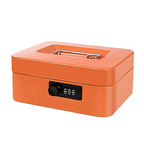 Cash Box with Money Tray and Combination Lock Metal Money Box with Cash Tray Portable Change Lock Box 7.87 x 6.3 x 3.54 Inches Orange