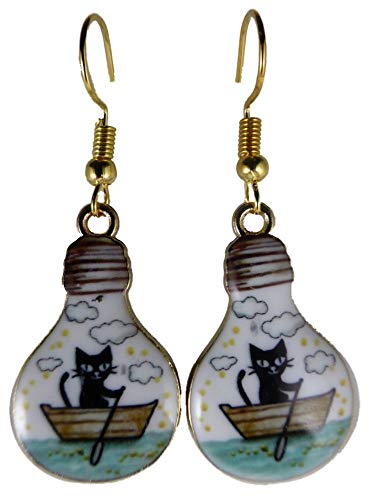 Ohrringe Ohrhänger Hänger Glühbirne Lampe mit Katze im Boot See Ruderboot Aquarium 9747