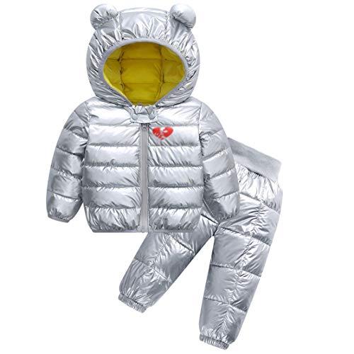 Mama stadt Kinder Schneeanzug 2tlg Baby Mädchen Jungen Verdickte Warme Daunenjacke mit Kaputze und Daunenhose Bekleidungsset Winterjacke Winterhose/80