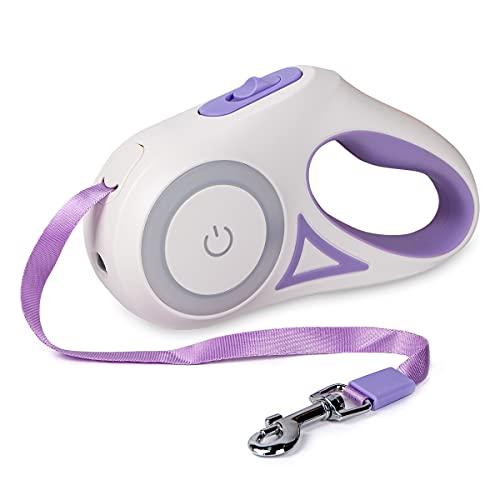 Dono Einziehbare Hundeleine, 3 m, ausziehbar, Ein-Knopf-Hand-Bremse, Hundeleine, verhedderungsfreies Nylonband, rutschfest, für kleine und große Hunde, Violett