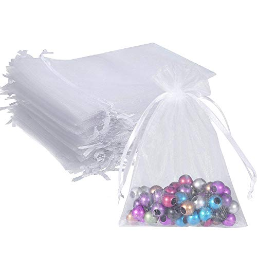 Wudygirl 100pcs 5X7 Inches White Organza Bag Christmas Drawstring Pouches Party Wedding Favor Gift Bags(White 5x7)