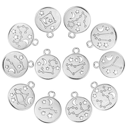EXCEART 72 Piezas Zodiaco Signo Encanto Constelación con Palo Cuentas DIY para Pulsera Collar Pendientes Pendientes de Botón Pendientes Joyería Fabricación Suministros Accesorios Plata