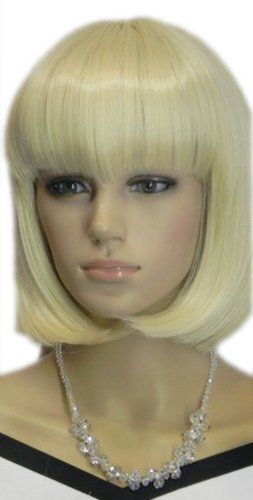 Qiyun Soyeux Court Raide Bob Clair Blond Synthetique Cheveux Complete Perruque Cosplay