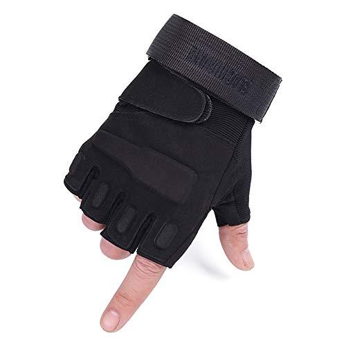 Gants Black Hawk Gants Tactiques Demi-Doigts en Microfibre Armée Fan-Fighting Training Protective Fitness Gants Anti-dérapants et Demi-Doigts (Sable, Vert, Noir) (Couleur : Noir, Taille : L)