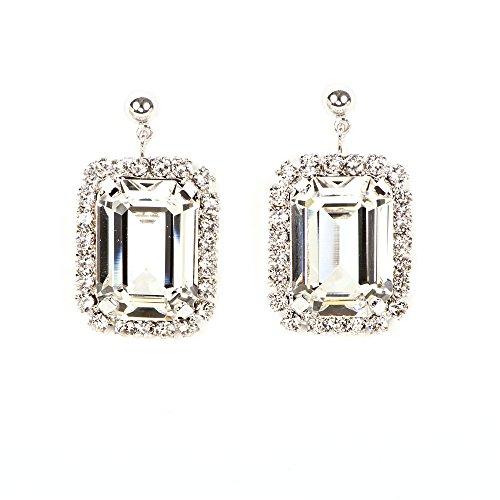 Pendientes de Mujer Corazón Cristales de Swarovski ® Transparentes con Baño de Rodio Titanio Glamour xclusivo