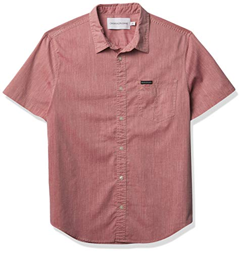 Calvin Klein Men's Short Sleeve Oxford Button Down Shirt, Garnet Omega Pocket, 2X-Large