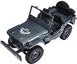 1/10 control remoto Off-Road Terreno 4WD camión militar JJQ65 2,4 GHz de alta velocidad compatible con múltiples simultáneamente S Componentes eléctricos de coches de juguete (Color: Azul) jianyou