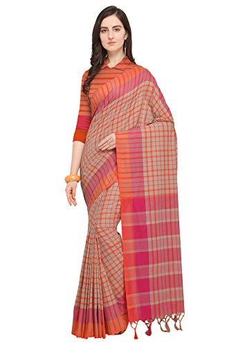 Ishin Poly Silk Beige & Orange Woven Women's Saree With Tassels
