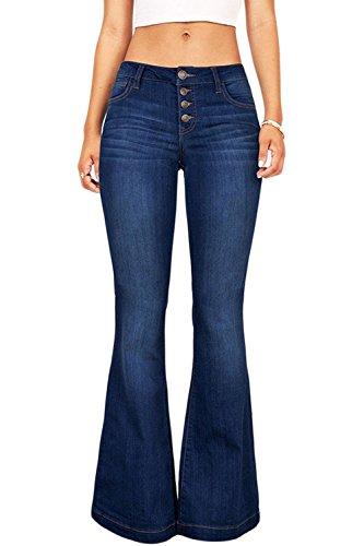 Suvimuga Las Mujeres De Baja Altura Jeans Pantalones Largos Damas Denim Pantalones Acampanados Pantalones De Campana Azul XXL