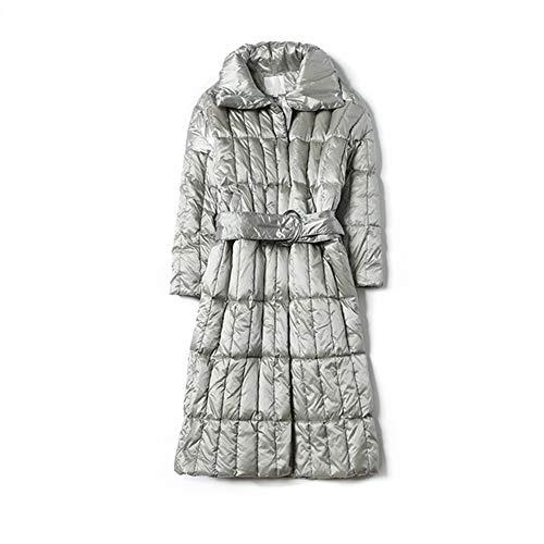 ZEIYUQI Damesjas winter warm lange jas winddicht middenlang over de knieën 90% witte eendendonzen donsjas voor dames