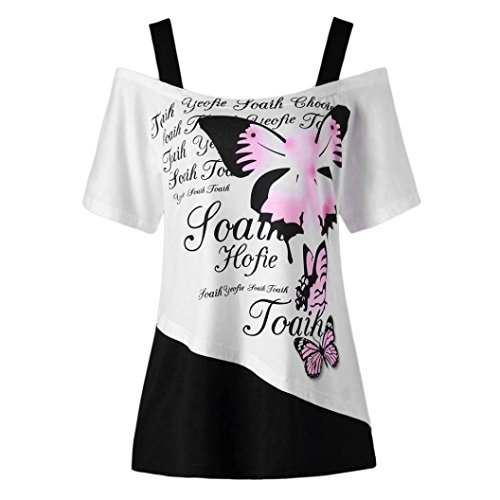 Bright_99 Damen T-Shirt Ladies Kurzarm Oberteile Tops Short Sleeve Sommer, Trägerlos Schmetterlings Druck Tops Elegant Casual Bluse Für Women (Schwarz, L)
