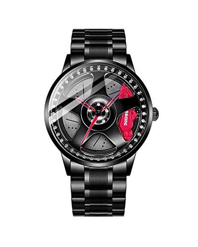 Mihawk Reloj de pulsera de cuarzo para hombre con correa de acero inoxidable, impermeable, diseño de buje para llantas de coche de carreras