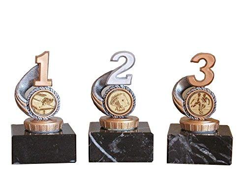 3er-Serie Sportpokale (1,2,3 R) mit Gravur und 3 Anstecknadeln (Für Angeln, Bowling, Dart, Fußball, Kegeln, Schützen, Poker und Würfeln). (Fußball)