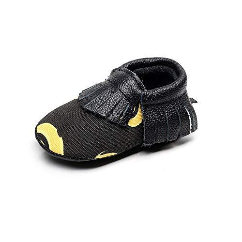 XYAN Baby-Schuhe Schwarz Gesäumten Patterns Englisch Buchstaben oder Soft-Soles Einfach Wear (Farbe : Banana, Size : 10.5cm)