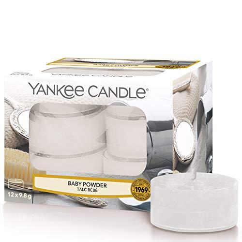 Yankee Candle Geur-theelichtjes, babypoeder, verpakking van 12 stuks