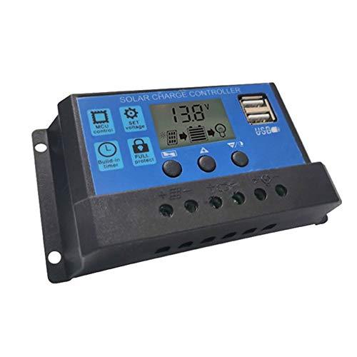 ZBF Controlador de Carga Solar Inteligente Regulador de Controlador PWM con Controlador de batería de Panel Solar de Pantalla LCD USB Dual (Current : 20A)