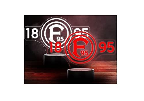 Fortuna Düsseldorf LED Lampe - Logo Schriftzug F95 - Nachtlicht, Leuchte - Plus Lesezeichen Wir lieben Fussball