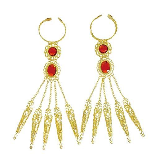 Bongles 2 Pc/Set Bauchtanz Gypsy Ägyptischen Goldarmband Mit Fingernägel Drag Queen Kostüme Acceessries Für Weibliche Mädchen