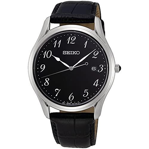 SEIKO Reloj para Hombre Analógico Cuarzo japonés con Correa de Piel de Vaca SUR305P1