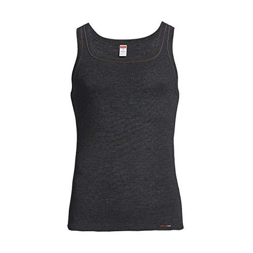 con-ta Thermo Unterhemd, Unterziehshirt für Herren, Muskelshirt mit natürlicher Baumwolle, wärmende Unterwäsche für Männer, schwarz Melange, Größe: 7