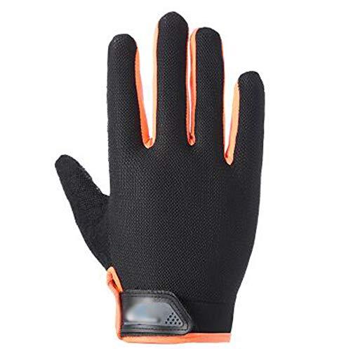 Vollfinger Sporthandschuhe Touchscreen Männer Und Frauen Outdoor Radfahren rutschfeste Atmungsaktiv Training Fitness Frühling Und Sommer Handschuhe,Orange,M
