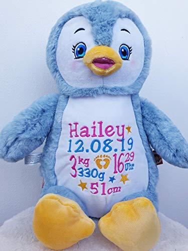 Peluche pingouin personnalisé brodé du prénom de bébé