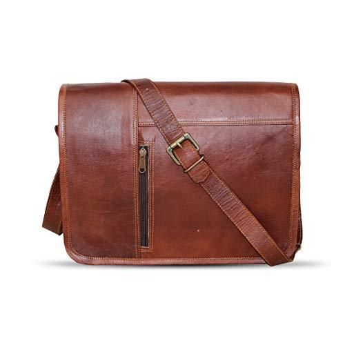 HG-LTHR 38 cm echt lederen laptoptas, schoudertas, boodschappentas, fietstas, schooltas, waterdicht, vintage, heren, dames, cadeau, XL lederen messengertas