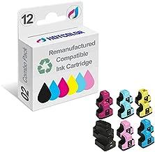 HOTCOLOR Remanufactured Ink Cartridge Replacement for HP 02 Work for HP PhotoSmart D7260 D7460 D7255 D7263 D7268 D7155 Printer (Black, Cyan, Magenta, Yellow, Light Cyan, Light Magenta, 12-Pack)