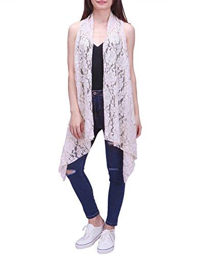 HDE Womens Open Front Lace Cardigan Sleeveless Asymmetric Drape Hem Vest Coverup (Cream, S-L)
