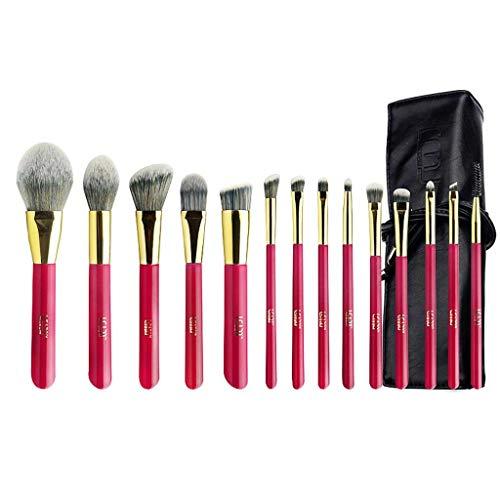 Pinceau de maquillage GCX- 14 Paquets de, Les Cheveux Doux, Doux en Poudre, Fard à paupières Brosse, Brosse de Maquillage Professionnel Beau (Color : Red c)