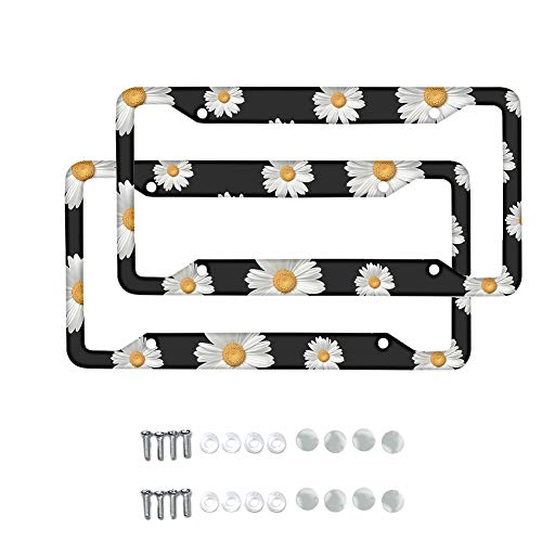 TOADDMOS 2 Pcs Decorative White Daisy Floral License Plate Frame for Women Girl,Car Licenses Plate Covers Holders Frames for Plates with Screw Caps Car Accessories