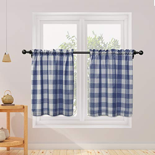 NATUS WEAVER Cafe Curtains 24 inches Long Buffalo Plaid Kitchen Tiers 2 Panels Rod Pocket Gingham Check Short Small Half Window Curtains Bathroom Navy Blue & White